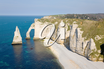 The famous cliffs at etretat in Normandy, France