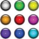 Royalty Free Clipart Image of a Set of Colourful Buttons