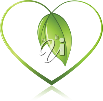 Royalty Free Clipart Image of a Heart Made by Leaves