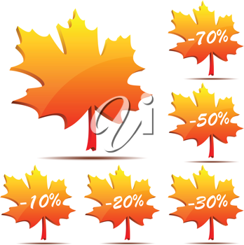 Royalty Free Clipart Image of Maple Leaf Labels
