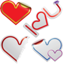 Royalty Free Clipart Image of Heart Shaped Stickers