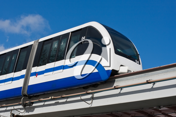 Modern monorail fast train on railway, Moscow, Russia