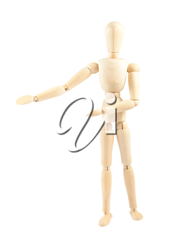 Royalty Free Photo of a Wooden Mannequin Showing a Space for Inserting Text