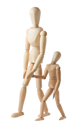 Royalty Free Photo of Wooden Mannequins of a Parent and a Child Going for a Walk