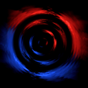 Royalty Free Clipart Image of Red Blue Rings on Black