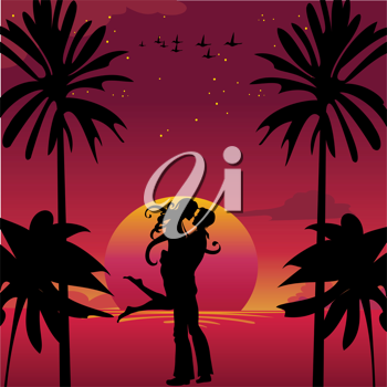 Royalty Free Clipart Image of a Couple Kissing by the Sunset