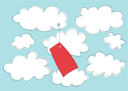 Royalty Free Clipart Image of a Label in the Clouds