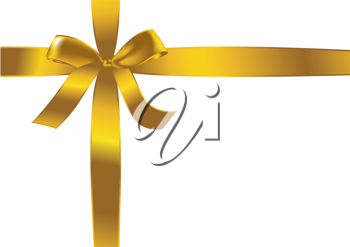 Royalty Free Clipart Image of a Gold Bow