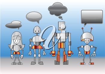 Royalty Free Clipart Image of Robots With Speech Bubbles