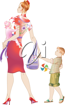 Royalty Free Clipart Image of a Mother and Her Children
