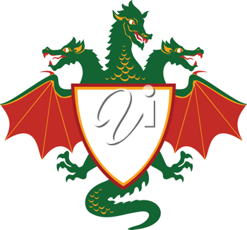 Royalty Free Clipart Image of a Dragon Shield