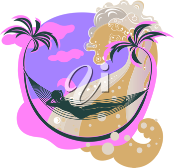 Royalty Free Clipart Image of a Woman Relaxing in a Hammock