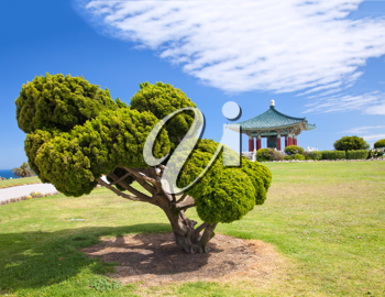 Royalty Free Photo of the Korean Bell of Friendship Pagoda and Park in San Pedro, California