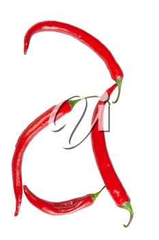 a letter made from chili, with clipping path