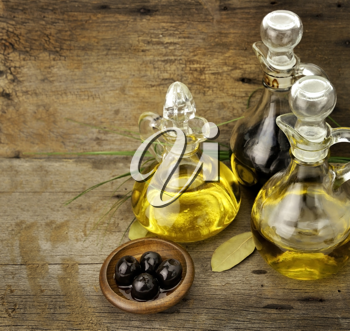 Royalty Free Photo of Vegetable and Olive Oil With Balsamic Vinegar