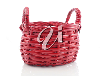 a red basket on white background