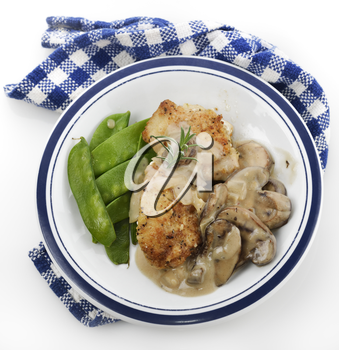 Chicken Breast In Mushroom Sauce With Green Peas