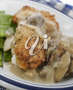 Chicken Breast In Mushroom Sauce With Green Peace