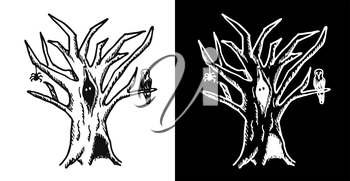 Hand drawn doodle Halloween tree. Black pen objects drawing. Design illustration for poster, flyer over white background.
