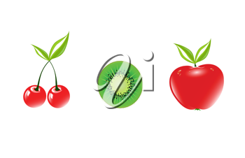 Royalty Free Clipart Image of Cherries, a Sliced Kiwi and an Apple