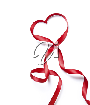 Red heart ribbon, on white background