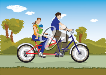 Royalty Free Clipart Image of a Couple on a Tandem Bike With a Child