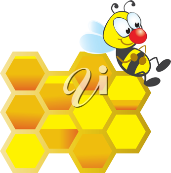 Royalty Free Clipart Image of a Bee on Honeycomb