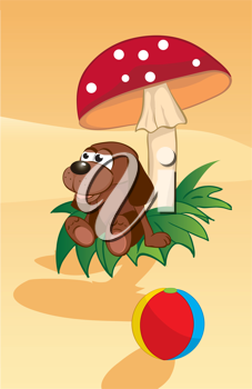 Royalty Free Clipart Image of a Toy Dog Under a Mushroom by a Beach Ball