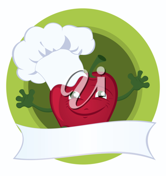 Royalty Free Clipart Image of a Cartoon Apple Chef