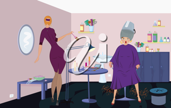Royalty Free Clipart Image of Women at the Beauty Salon