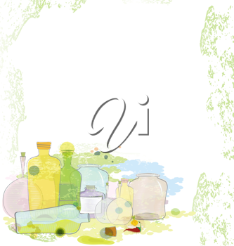 Royalty Free Clipart Image of a Bunch of Jars