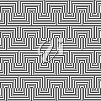 Geometric background with black and white stripes. Seamless monochrome  pattern with zebra effect.Alternating black and white triangle zigzag.
