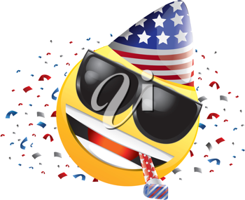 Royalty Free Clipart Image of a Celebrating American Happy Face in Sunglasses With Streamers