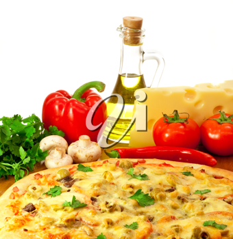 Royalty Free Photo of a Pizza and Ingredients