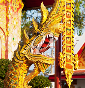 Royalty Free Photo of a Dragon in a Temple