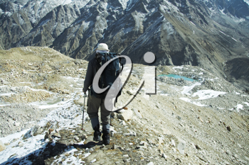 Royalty Free Photo of a Climber on a Moraine in the Himalayan Mountains