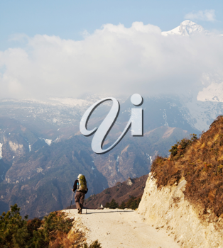 Royalty Free Photo of a Hiker in the Everest Region