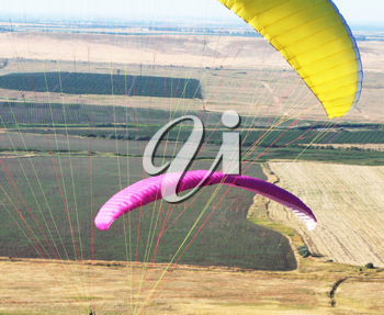 Royalty Free Photo of Paragliders