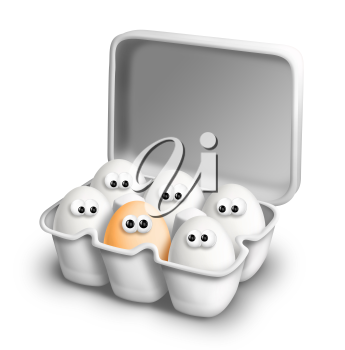 Royalty Free Clipart Image of a Brown Egg With White Ones in a Carton