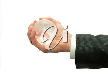 Royalty Free Photo of a Person Holding a Globe
