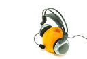 orange and headphones isolated on a white
