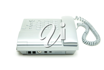 grey office telephone on a white  background