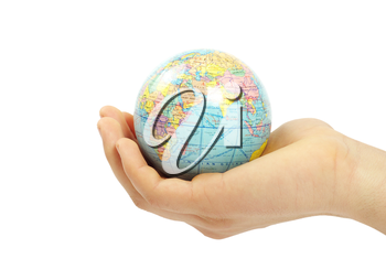Hand holdings a globe on a white