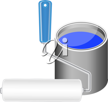 Royalty Free Clipart Image of a Bucket of Blue Paint and a Roller