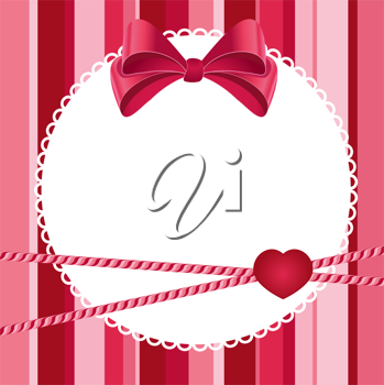 Royalty Free Clipart Image of a Striped Background With a Bow and a Heart on a Lacy Frame