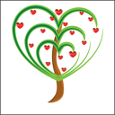 Royalty Free Clipart Image of a Heart Tree