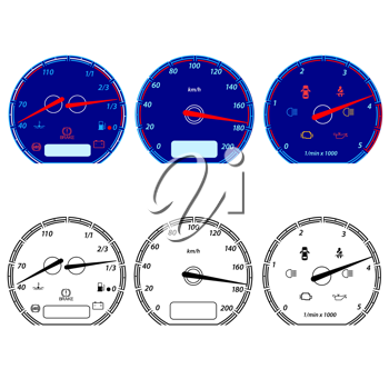 Royalty Free Clipart Image of Car Speedometers