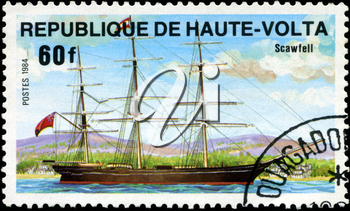 REPUBLIC OF UPPER VOLTA- CIRCA 1984: A stamp printed in Republic of Upper Volta shows the ship Scawfell, series is devoted to sailing vessels, circa 1984