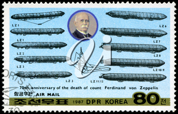 DEMOCRATIC PEOPLE'S REPUBLIC (DPR) of KOREA - CIRCA 1987: A stamp printed in DRK Korea (North Korea) honoring 70th annivversary of the death of count Ferdinand von Zeppelin, circa 1987