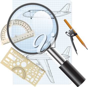 Magnifying glass icon, drawing   aircraft. Vector illustration.